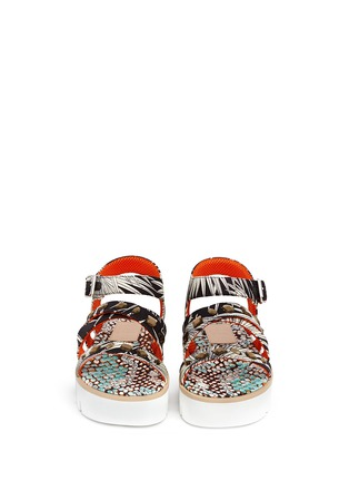 Figure View - Click To Enlarge - MSGM SHOES - Jewelled tropical print fabric platform sandals