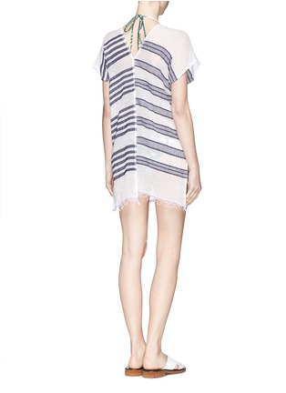 Back View - Click To Enlarge - Lemlem - 'Zare' stripe split cotton tunic cover-up