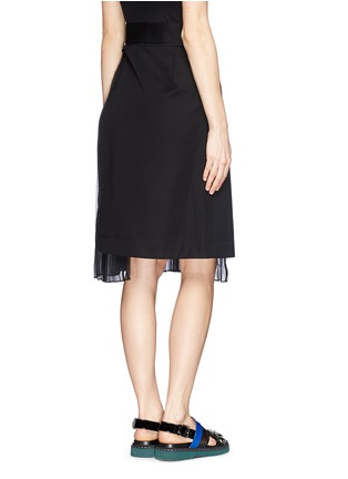 Back View - Click To Enlarge - Sacai - Pleat insert asymmetric cotton skirt