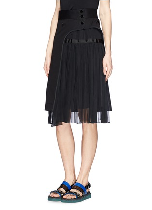 Front View - Click To Enlarge - Sacai - Pleat insert asymmetric cotton skirt