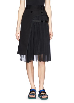 Main View - Click To Enlarge - Sacai - Pleat insert asymmetric cotton skirt