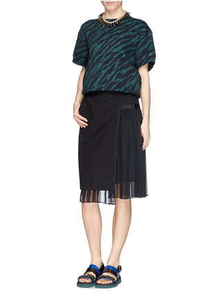 Figure View - Click To Enlarge - Sacai - Pleat insert asymmetric cotton skirt