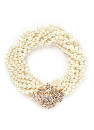 Main View - Click To Enlarge - Kenneth Jay Lane - Crystal pavé floral clasp glass pearl necklace