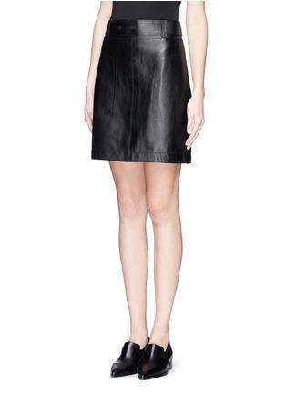 正面 -点击放大 - 3.1 PHILLIP LIM - Leather A-line skirt
