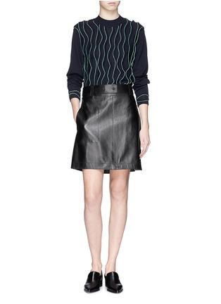 模特儿示范图 - 点击放大 - 3.1 PHILLIP LIM - Leather A-line skirt