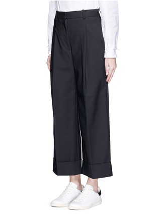 Front View - Click To Enlarge - 3.1 Phillip Lim - Foldup cuff wide leg cropped pants