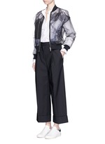 Foldup cuff wide leg cropped pants