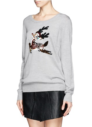 Front View - Click To Enlarge - MARKUS LUPFER - Natalie sequin reindeer Christmas sweater