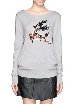 Main View - Click To Enlarge - MARKUS LUPFER - Natalie sequin reindeer Christmas sweater