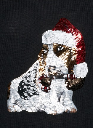 Detail View - Click To Enlarge - MARKUS LUPFER - Natalie sequin basset hound Christmas sweater