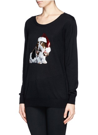 Front View - Click To Enlarge - MARKUS LUPFER - Natalie sequin basset hound Christmas sweater