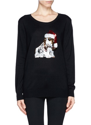 Main View - Click To Enlarge - MARKUS LUPFER - Natalie sequin basset hound Christmas sweater