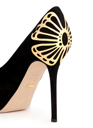 Detail View - Click To Enlarge - SERGIO ROSSI - Butterfly heel suede platform pumps