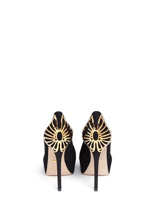 Back View - Click To Enlarge - SERGIO ROSSI - Butterfly heel suede platform pumps