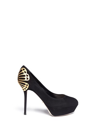 Main View - Click To Enlarge - SERGIO ROSSI - Butterfly heel suede platform pumps