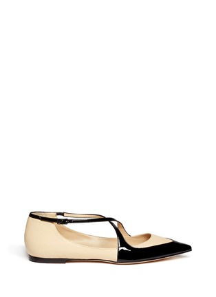 Main View - Click To Enlarge - Jimmy Choo - 'Gamble' cross strap leather flats