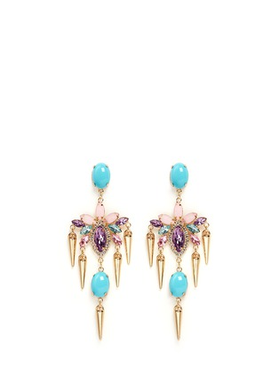 Main View - Click To Enlarge - Kenneth Jay Lane - Crystal and stone drop earrings
