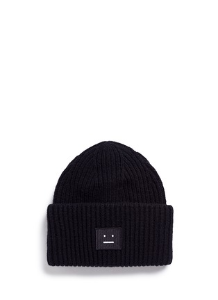 Main View - Click To Enlarge - Acne Studios - 'Pansy' emoticon patch wool beanie
