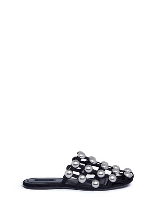 Main View - Click To Enlarge - Alexander Wang  - 'Amelia' ball stud caged suede slide sandals