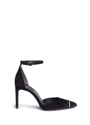 Main View - Click To Enlarge - Alexander Wang  - 'Kim' metal ring d'Orsay suede pumps