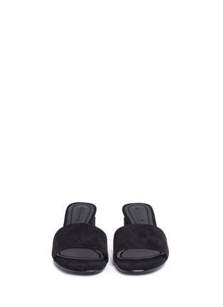 Front View - Click To Enlarge - Alexander Wang  - 'Lou' cutout heel suede slide sandals