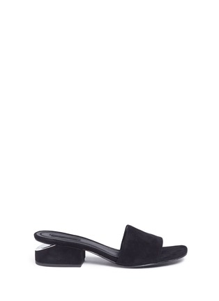 Main View - Click To Enlarge - Alexander Wang  - 'Lou' cutout heel suede slide sandals