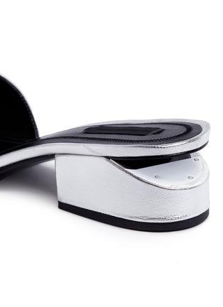 Detail View - Click To Enlarge - Alexander Wang  - 'Lou' cutout heel metallic leather slide sandals