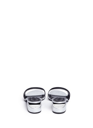 Back View - Click To Enlarge - Alexander Wang  - 'Lou' cutout heel metallic leather slide sandals