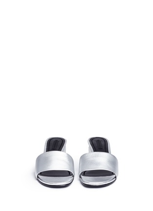 Front View - Click To Enlarge - Alexander Wang  - 'Lou' cutout heel metallic leather slide sandals