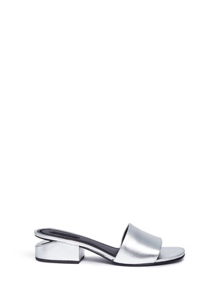 Main View - Click To Enlarge - Alexander Wang  - 'Lou' cutout heel metallic leather slide sandals