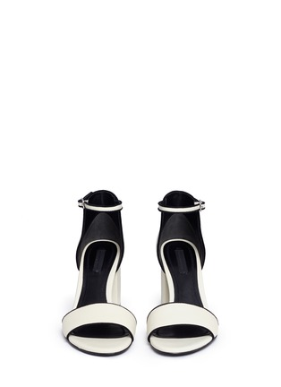 Front View - Click To Enlarge - Alexander Wang  - 'Abby' chunky cutout heel leather sandals