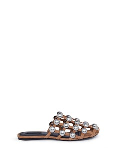 Alexander Wang  'Amelia' ball stud caged suede slide sandals