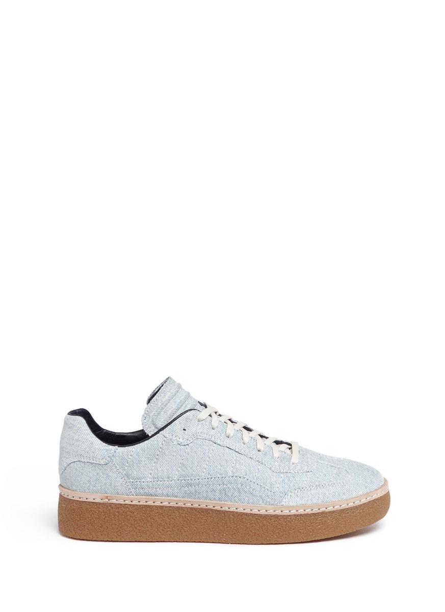 Eden Low washed denim platform sneakers by Alexander Wang