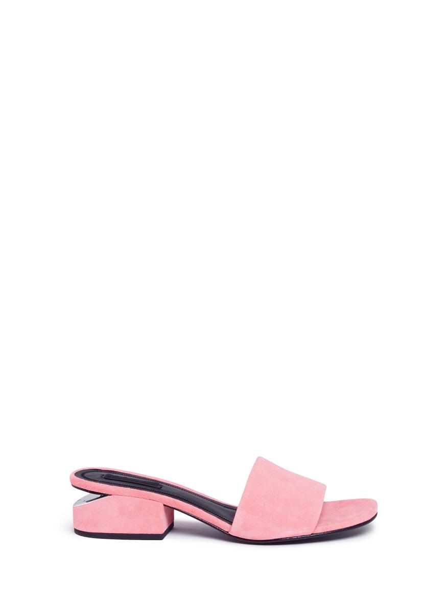 Lou cutout heel suede slide sandals by Alexander Wang