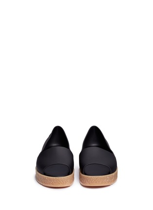 Front View - Click To Enlarge - Melissa - 'Puzzle Ad' rubber platform open toe slip-ons