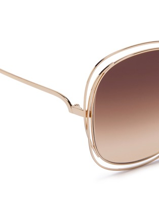 Detail View - Click To Enlarge - Chloé - 'Carlina' overlap wire rim oversized square sunglasses