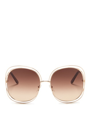 Main View - Click To Enlarge - Chloé - 'Carlina' overlap wire rim oversized square sunglasses