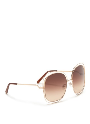 Figure View - Click To Enlarge - Chloé - 'Carlina' overlap wire rim oversized square sunglasses