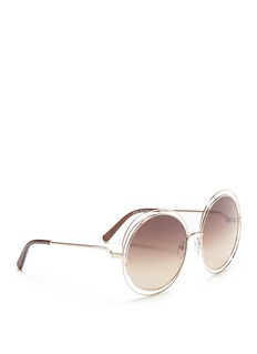 Chloé'Carlina' overlap wire rim oversized round sunglasses
