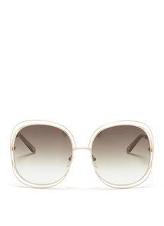Chloé 'Carlina' overlap wire rim oversized square sunglasses