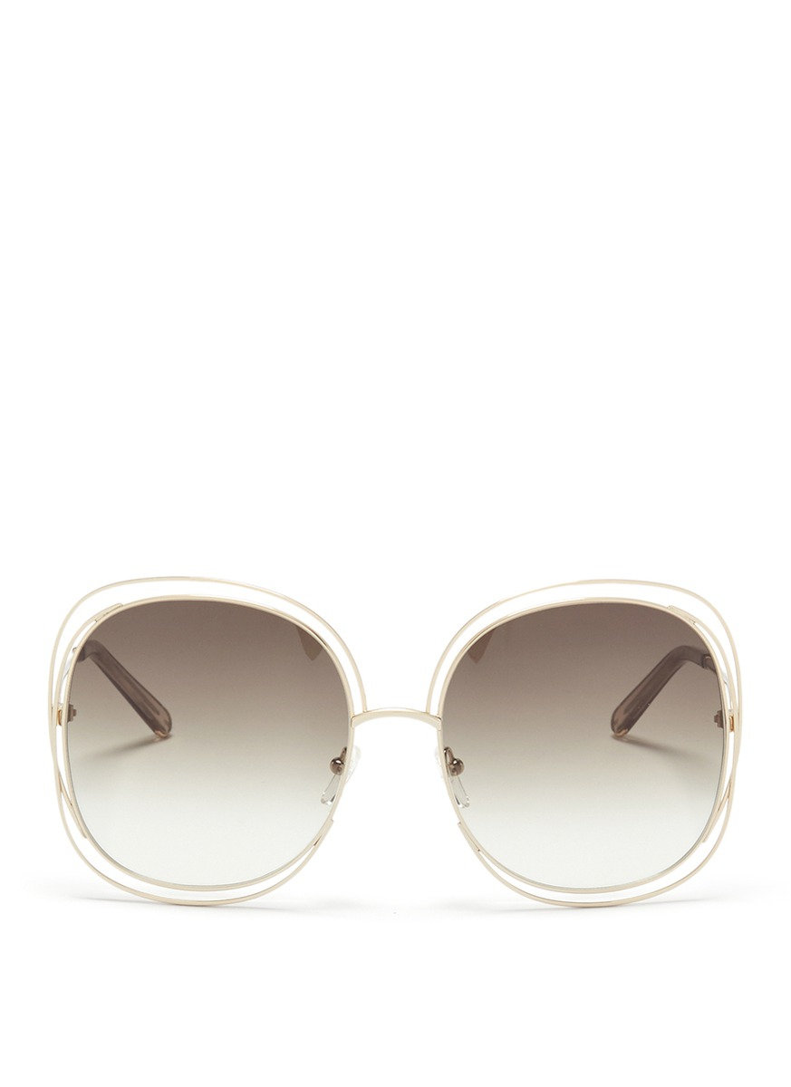 Carlina overlap wire rim oversized square sunglasses by Chloé