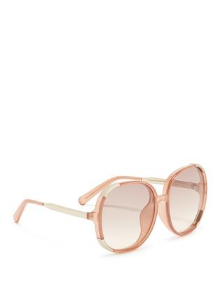 Figure View - Click To Enlarge - Chloé - 'Myrte' metal inset acetate square sunglasses