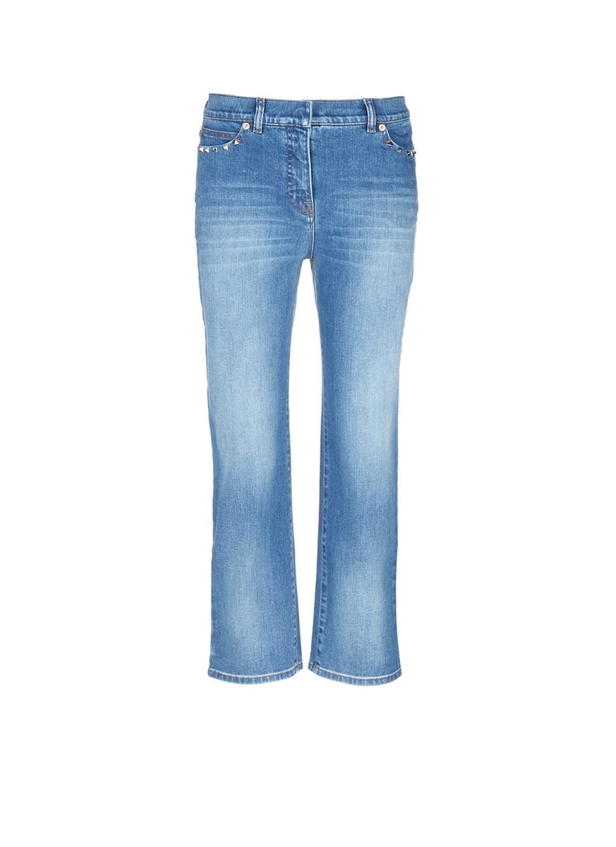 Rockstud Untitled 06 cropped straight jeans by Valentino
