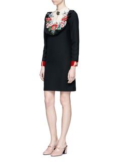 Gucci Jewelled floral embroidered bib panel dress