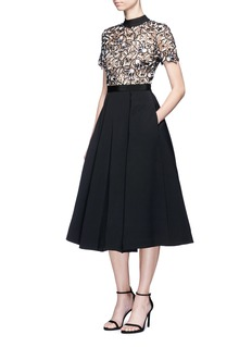self-portrait 'Nightshade' floral guipure lace crepe dress