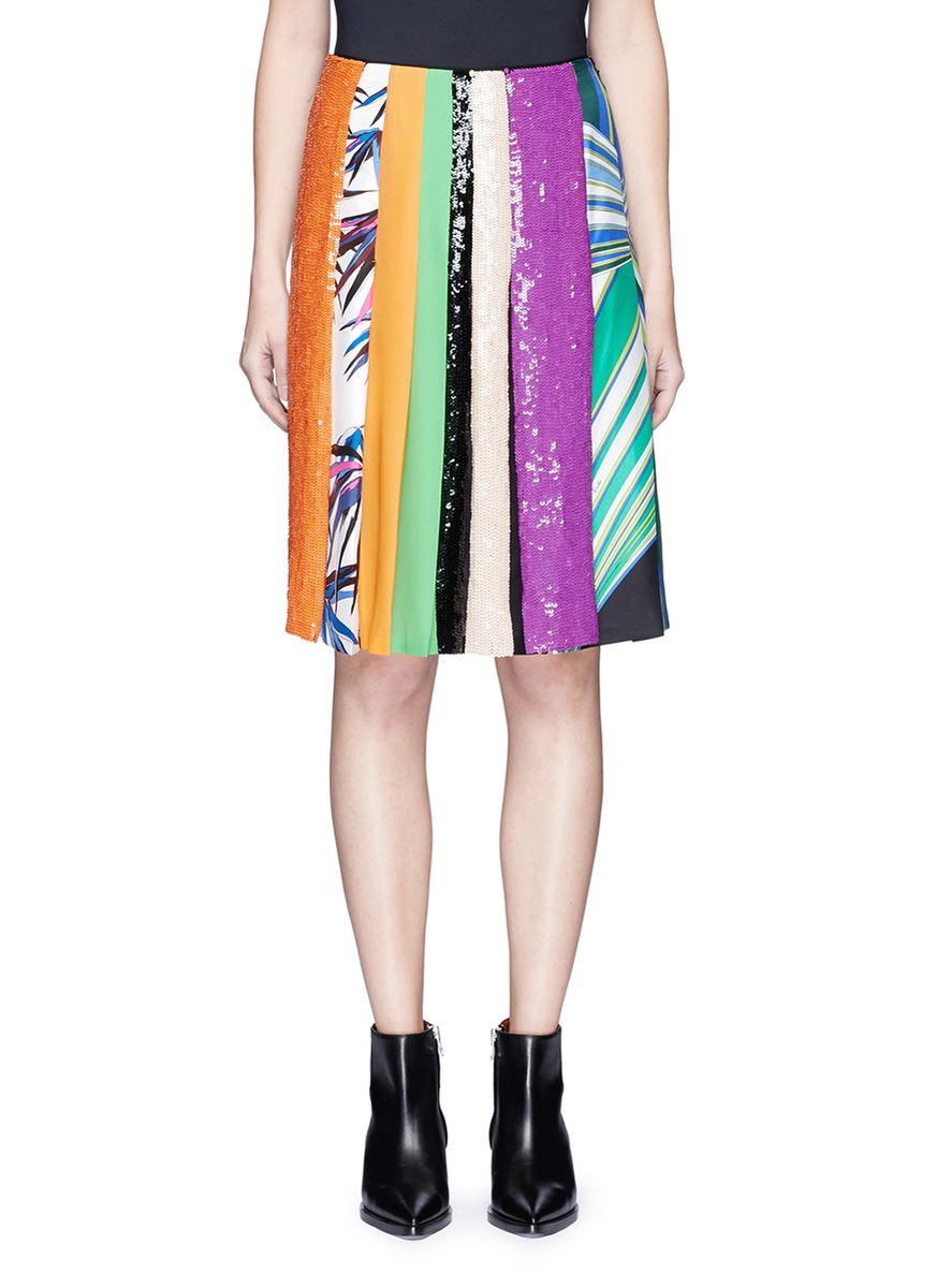 Vortici mixed print sequin silk pleated skirt by Emilio Pucci