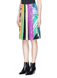 Emilio Pucci 'Vortici' mixed print sequin silk pleated skirt