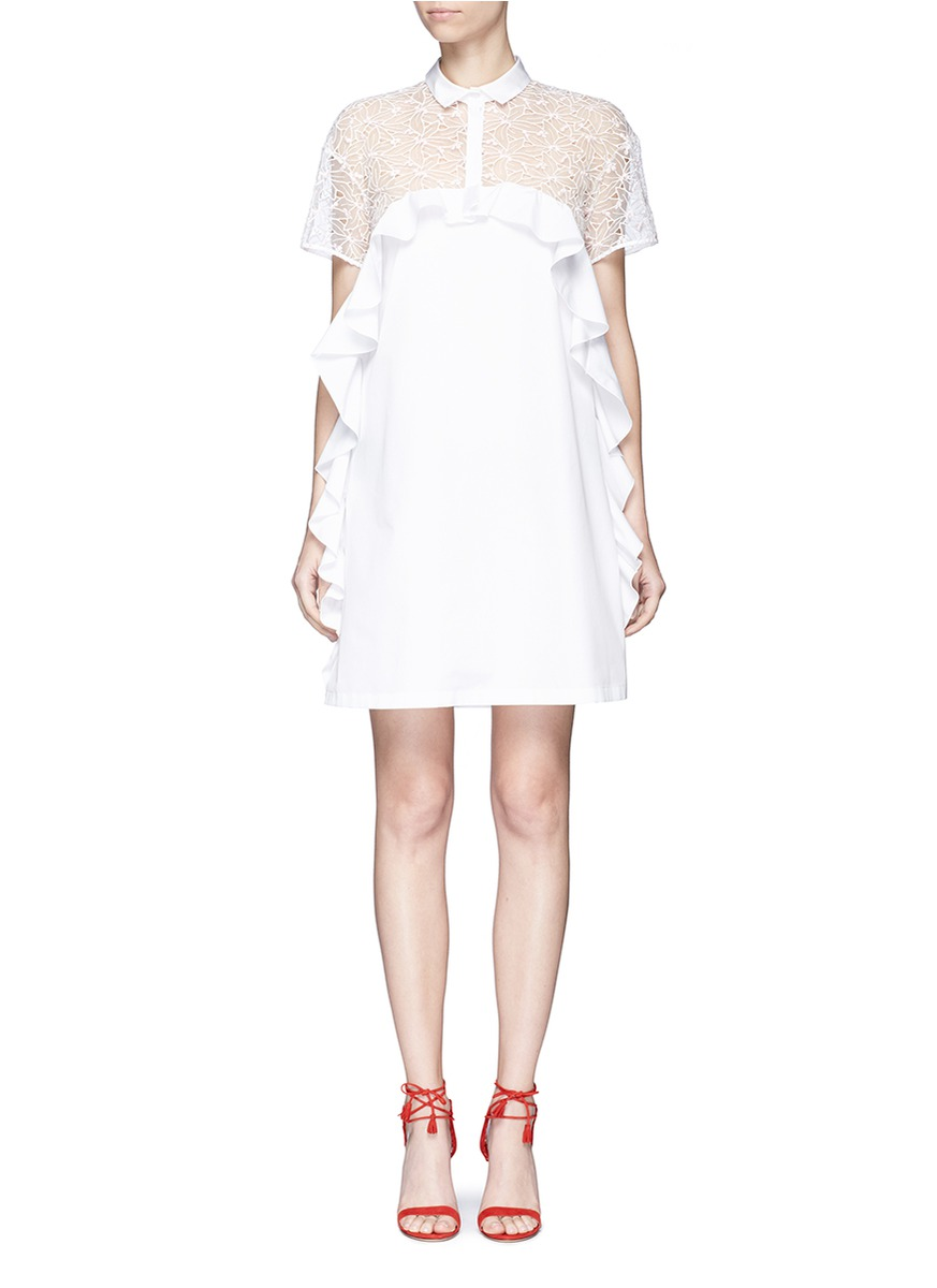 Floral embroidered mesh panel poplin shirt dress by Giamba