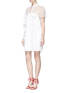 GiambaFloral embroidered mesh panel poplin shirt dress