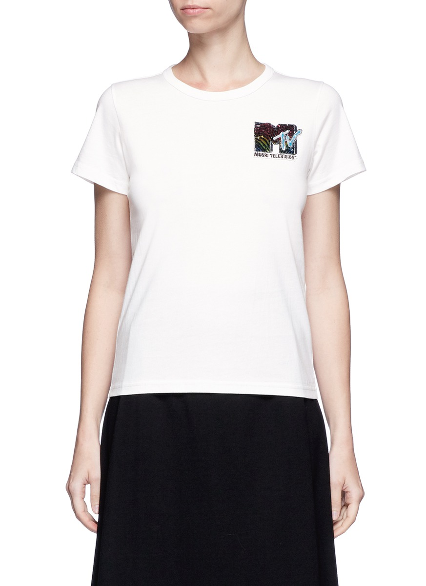 marc jacobs female x mtv sequin logo embroidered tshirt
